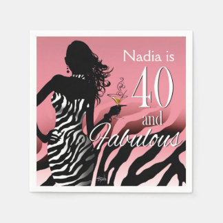 Bombshell Zebra 40th Birthday | pink Disposable Napkin