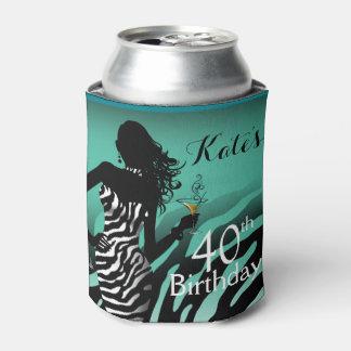 Bombshell Zebra Birthday   aqua Can Cooler