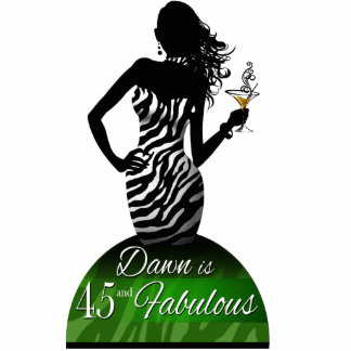 Bombshell Zebra Birthday Cake Topper green Standing Photo Sculpture
