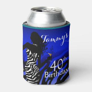 Bombshell Zebra Birthday   cobalt Can Cooler