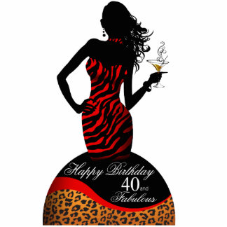 Bombshell Zebra Leopard 40th Birthday Centerpiece Standing Photo Sculpture