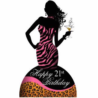 Bombshell Zebra Leopard Birthday Table Centerpiece Cut Out