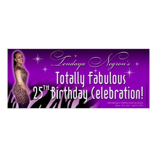 Bombshell Zebra Leopard Party Banner 30x15 Posters