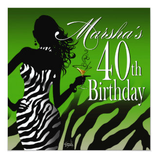 Bombshell Zebra Marsha's 40th Birthday Green Card