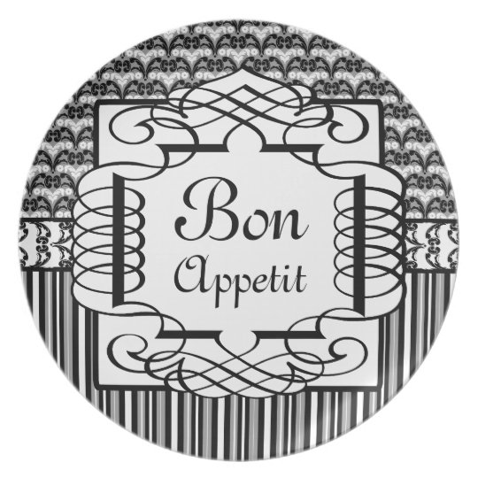 Bon Appetit Black and White French Damask Plate