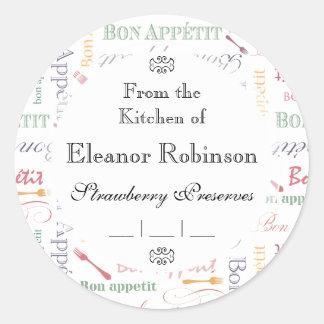 Bon Appetit Classic Pattern Round Sticker