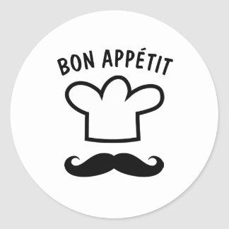 Bon appétit food stickers with funny mustache