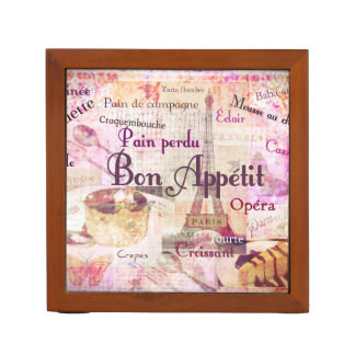 Bon Appétit French food words Paris theme art Desk Organizer