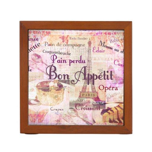 Bon Appétit French food words Paris theme art Desk Organizer