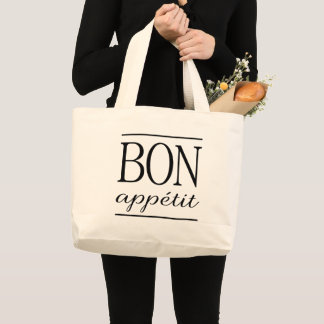 BON APPETIT Typography Dinner Quote White Large Tote Bag