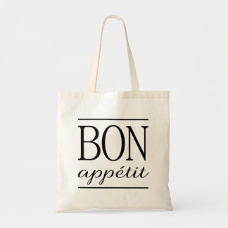 BON APPETIT Typography Dinner Quote White Tote Bag