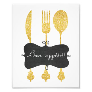 Bon Appetit Utensil Blackboard Photo Print