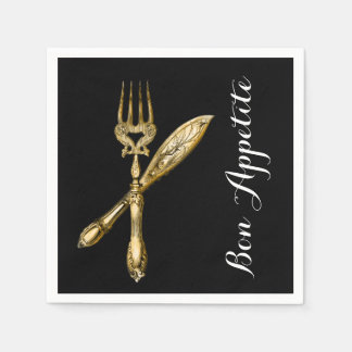 Bon appetite knife fork businesses paper napkins