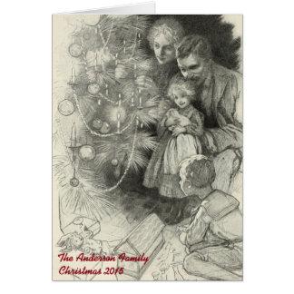 Bon Noël démodé vintage personnalisé Carte De Vœux