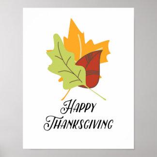 Bon thanksgiving - feuille - affiche