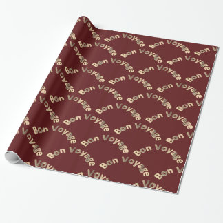 Bon Voyage Arches on Dark Red Wrapping Paper
