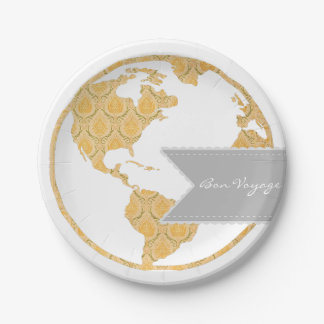 Bon Voyage | Bohemian World Map | Going Away 7 Inch Paper Plate