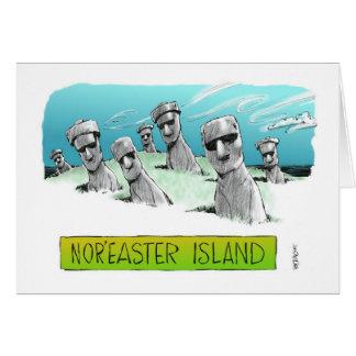"Bon Voyage cartoon view of ""Nor'easter Island"" Card"