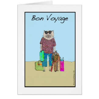 Bon Voyage, Cat on Vacation Card