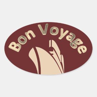 Bon Voyage Cruise Ship Oval Sticker