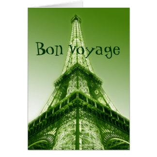 Bon voyage Eiffel Tower Good Trip Card Green