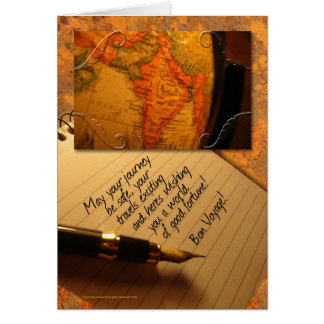 Bon Voyage Globe and Caligraphy Pen with Letter Card