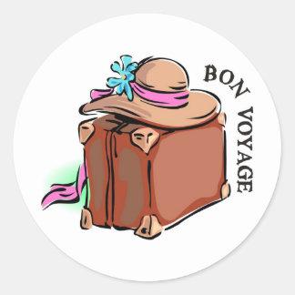 Bon Voyage have a good trip Luggage hat Round Sticker