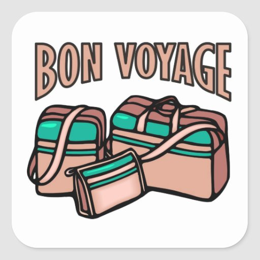 Bon Voyage, have a good trip! Luggage & suitcases Square Stickers