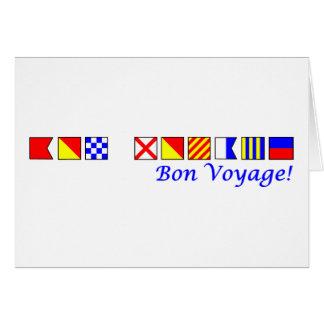 bon voyage in nautical flag alphabet card
