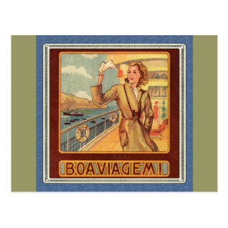 Bon Voyage Ocean Liner Postcard