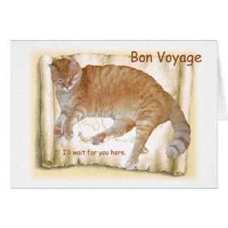 Bon Voyage Orange Cat on Map Card