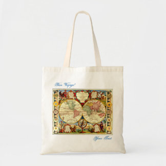 Bon Voyage World Map Vacation AddUrText Gift Bag