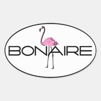 Bonaire Flamingo Oval Sticker