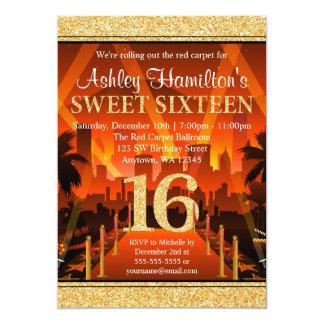 Bonbon 16 à scintillement d'or de ville de tapis carton d'invitation  12,7 cm x 17,78 cm