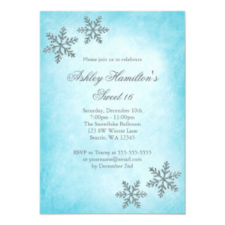 Bonbon 16 flocons de neige d'étincelle du pays des carton d'invitation  12,7 cm x 17,78 cm