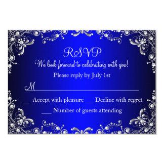 Bonbon 16 RSVP à damassé de perle d'argent de bleu Carton D'invitation 8,89 Cm X 12,70 Cm