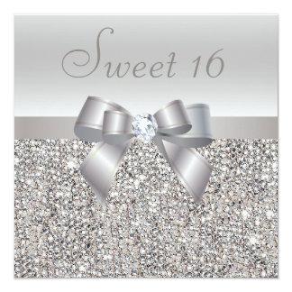 Bonbon argenté imprimé 16 à paillettes, à arc et à carton d'invitation  13,33 cm