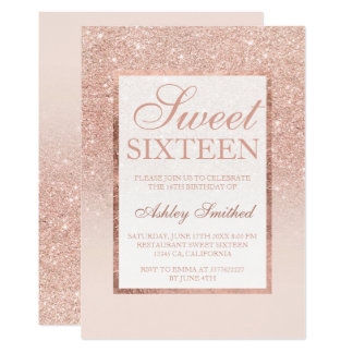 Bonbon chic élégant 16 à scintillement rose d'or carton d'invitation  12,7 cm x 17,78 cm
