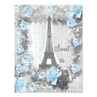 Bonbon chic minable 16 à Tour Eiffel et à roses Cartons D'invitation