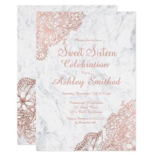 Bonbon floral 16 à or rose de marbre carton d'invitation  12,7 cm x 17,78 cm