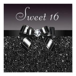 Bonbon noir imprimé 16 à paillettes, à arc et à carton d'invitation  13,33 cm