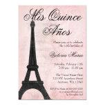 Bonbon noir rose vintage 15 Quinceanera de Paris Carton D'invitation 12,7 Cm X 17,78 Cm