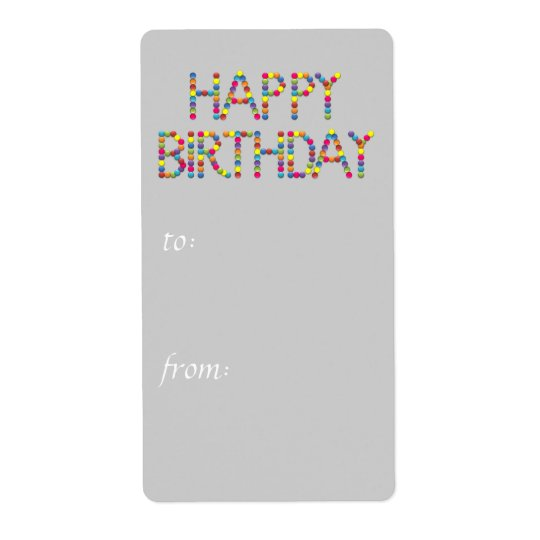 BonBon Party Rainbow Happy Birthday  Gift Tag
