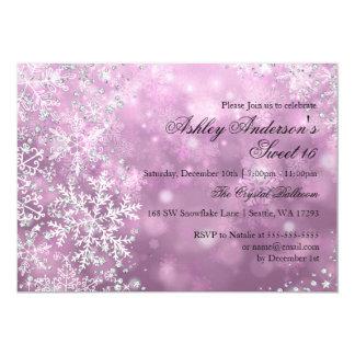 Bonbon rose 16 flocons de neige d'étincelle du carton d'invitation  12,7 cm x 17,78 cm