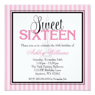 Bonbon rose à rayures de Paris 16 invitations Carton D'invitation 13,33 Cm