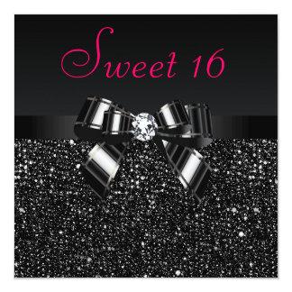 Bonbon rose noir imprimé 16 à paillettes, à arc et carton d'invitation  13,33 cm