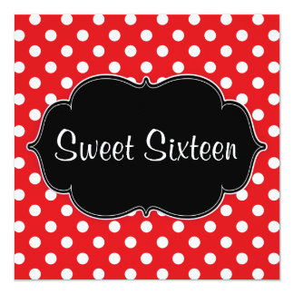 Bonbon rouge à point de polka 16 invitations de