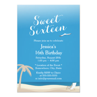 Bonbon tropical 16 à thème de plage de ciel bleu carton d'invitation  12,7 cm x 17,78 cm