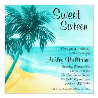 Bonbon tropical à plage 16 invitations de fête carton d'invitation  13,33 cm