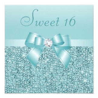 Bonbon turquoise 16 à paillettes, à arc et à carton d'invitation  13,33 cm